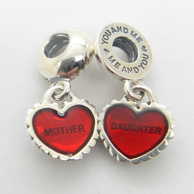 Piece My Heart Mother Daughter Red Enamel Dangle Charm Authentic Sterling silver