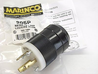 Bryant 20A 125V Hubbell 2311 Style Locking Plug L5-20P Used