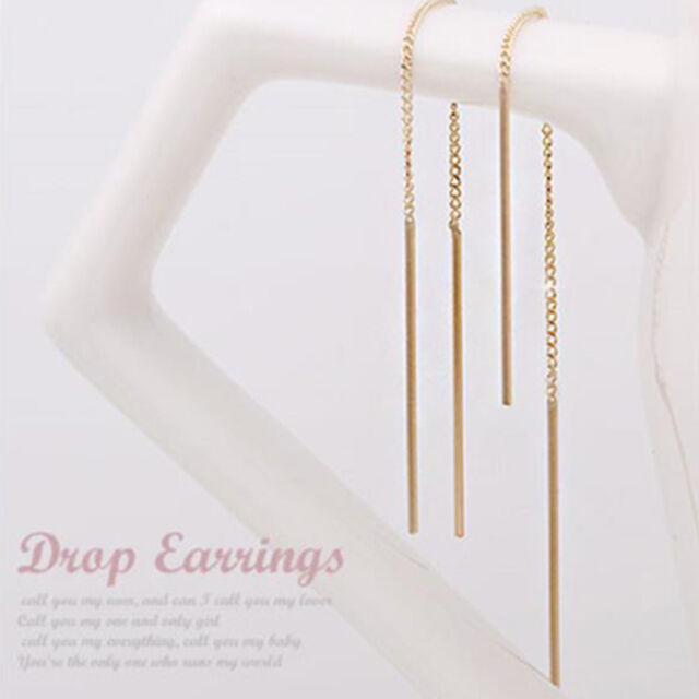 14K Solid Yellow Gold Stick Chain Threader Long Drop Dangle a Pair Earrings TPD