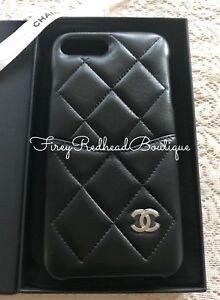 f92b8ba6dff2a9 CHANEL iPhone Case (iPhone 7+ & 8+ models) Black Lambskin w/ silver ...