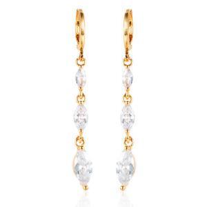 Women-18K-Gold-Plated-Crystal-White-CZ-Cubic-Zirconia-Long-Drop-Earrings-Jewelry