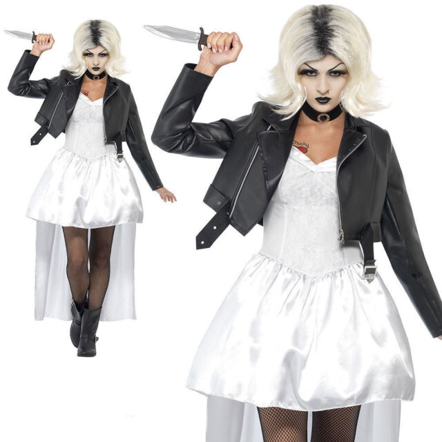 adult bride of chucky costume ladies womens 80s halloween fancy dress new