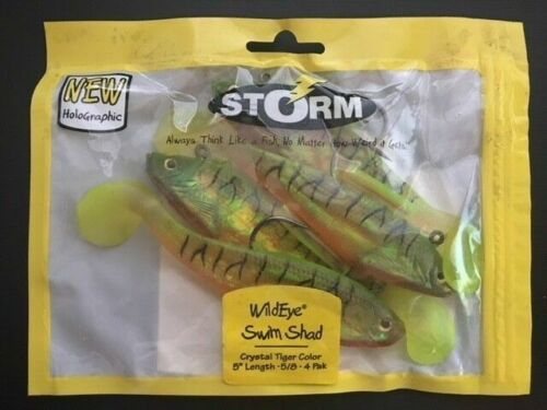 """NEW WSB05FT FIRE TIGER COLOR 5/"""" 2002 STORM WILDEYE SWIM SHAD 4 PACK"""