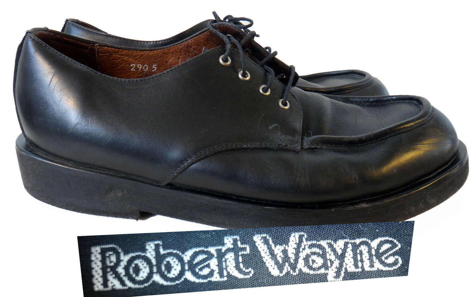 Robert Wayne classic loafer black 10.5 round toe black leather lace tie work