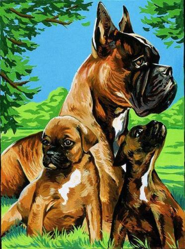 famille Boxer Margot de Paris TAPISSERIE needlepoint canvas Boxer famille