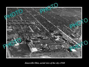 OLD-LARGE-HISTORIC-PHOTO-OF-ZANESVILLE-OHIO-AERIAL-VIEW-OF-THE-CITY-c1940