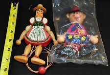 Lot of 2 - Vintage Rare Wooden Jumping Jack Pull Toy Austrian Boy and Girl Doll