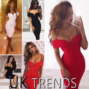 UK-Womens-Strappy-Bardot-Bodycon-Party-Deep-V-Plunge-Ladies-Midi-Dress-Size-6-16