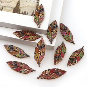 NE-KF-BU-50Pcs-Fashion-Leaves-Design-Wooden-Buttons-2-Hole-Scrapbook-Art-DIY