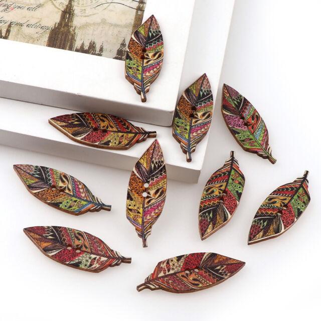 Ca_ KF_ 50Pcs Fashion Leaves Design Wooden Buttons 2-Hole Scrapbook Art DIY Deco