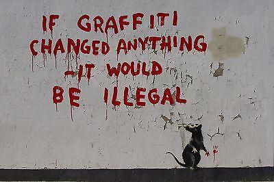 "Banksy, If Graffiti Changed Anything..., 8""x12"", Giclee Canvas Print"