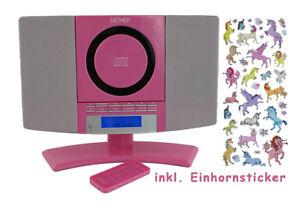 Maedchen-Stereoanlage-Mini-Anlage-Pink-MC-5220-Einhorn-Sticker-Kompaktanlage