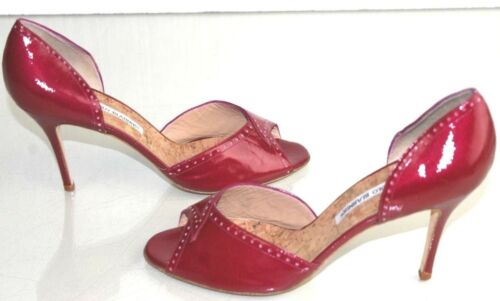 NEW Manolo Blahnik CHARLADO Dorsay Patent Leather Pumps Pink Raspberry Shoes 41