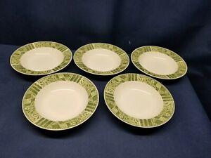 Vintage Sango Stoneware Margaux Set/5 Wide  Rimmed Soup/Salad Bowls #8834