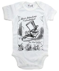 Alice-Wonderland-Baby-Bodysuit-034-The-Mad-Hatter-034-Babygrow-Vest-Clothes