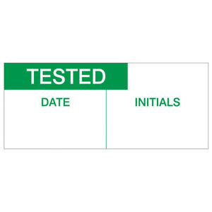 Tested, Date And Initial Labels, Green On Nylon Cloth 38 x 15mm Pack Of 140