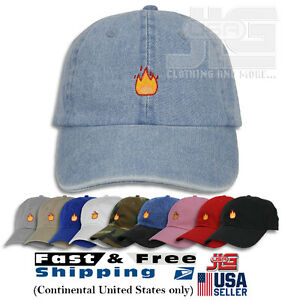 Fire Emoji Baseball Cap Curved Bill Dad Hat 100% Cotton Lit Hot ... ca5f0b262814