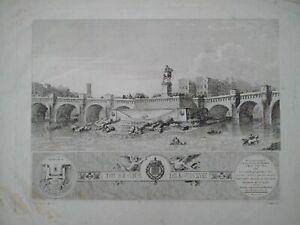 Rare grande gravure Paris architecture Pont Neuf estampe Baugean Louis XVIII