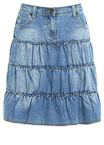 Womens Ladies A Line Denim Skirt Summer Layered Jeans Light Washed