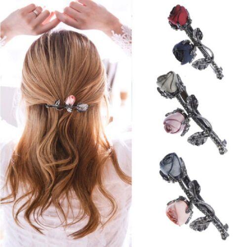 Rose Flowers Hair Clip Ponytail Holders Barrettes Leaves Hairgrip For Women Girl
