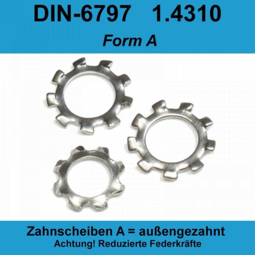 3,2 DIN 6797 Zahnscheiben A2 Edlestahl Form A außengezahnte AZ Federstahl f M3