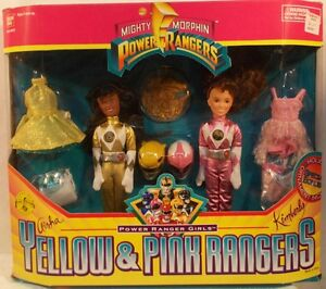 Ornement bonus poupées Micky Morphin Power Rangers jaune Aisha rose Kimberly rose   Dolls Bonus Ornament