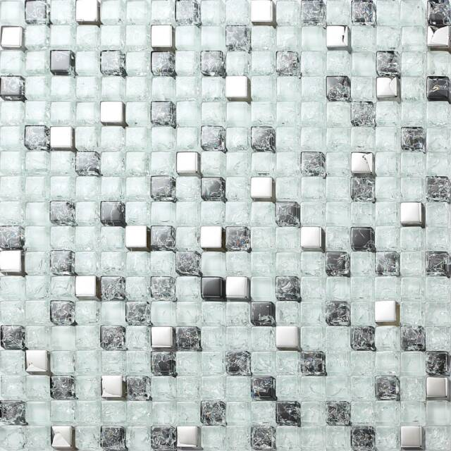 Glass Mosaic Wall Tiles Black & Clear Crackles and Silver Bathroom Shower MT0078