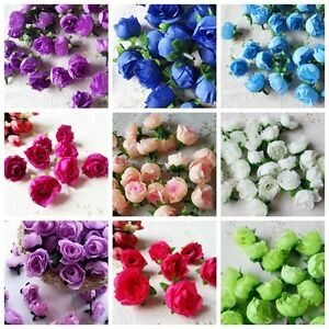 10pcs Artificial Flowers Small Silk Rose Heads Flower Party Wedding