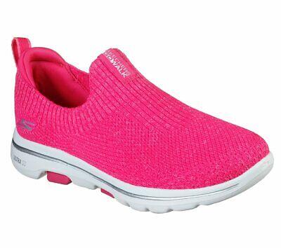 hot pink slip on skechers shoes go walk 5 women casual