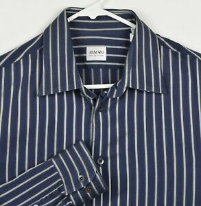 Armani-Collezioni-Men-039-s-Large-Navy-Blue-Silver-Striped-Cotton-Nylon-Blend-Shirt