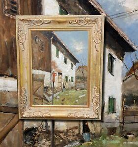 Bauernhaus-Raisting-Original-Olgemaelde-Muenchner-Schule-OTTO-HELLMEIER-1908