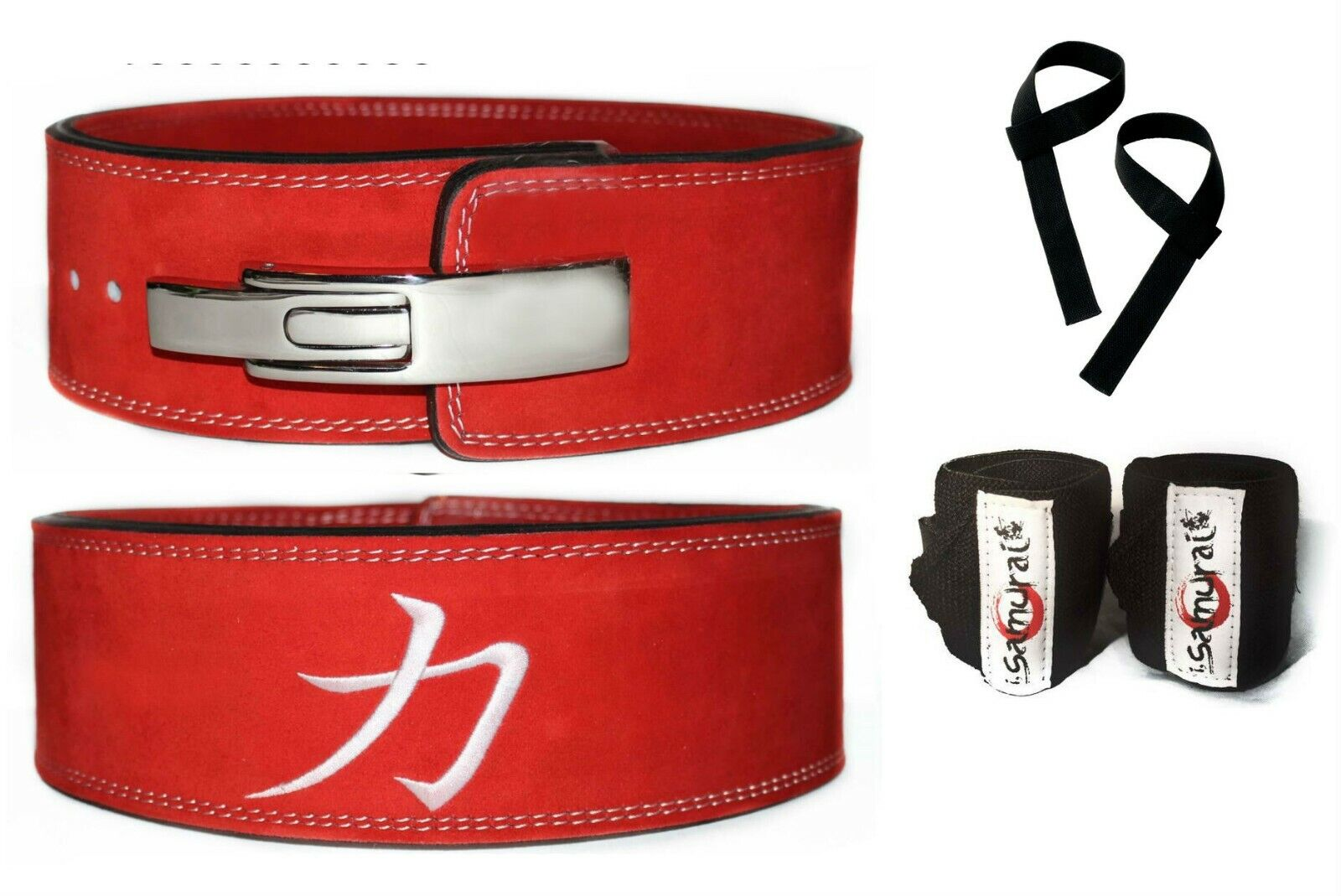 Strength Shop 10MM RED POWERLIFTING LEVER BELT (LARGE) + Wrist  Wraps + Straps  will make you satisfied