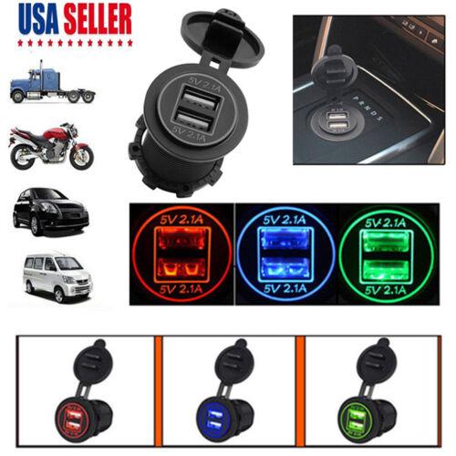 5V 4.2A Dual USB Charger Socket Adapter Power Outlet for 12V 24V Car Motorcycle