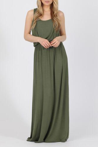 Tous les jours sans manches sans motif Missi viscose Bubble Top robe longue S//M M//L