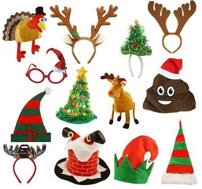 CHRISTMAS XMAS HEADBANDS HATS ACCESSORIES REINDEER HALO TREE SECRET SANTA