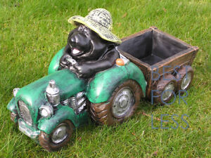 Lustige-Garten-Deko-Figur-Gartenfigur-Maulwurf-Statue-Trecker-Traktor-witzig-neu
