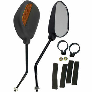 New-Pair-of-Bike-Mobility-Scooter-Handlebar-Oval-Mirrors-With-Safety-Reflectors