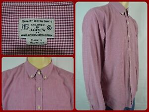 J-Crew-Red-White-Check-Woven-Mens-XL-Dress-Casual-Shirt-Office-Work