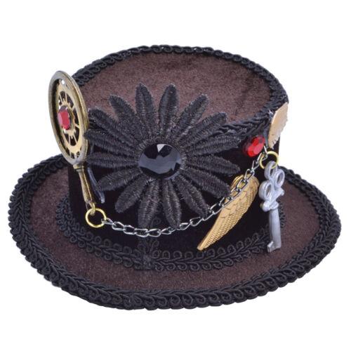 Brown MINI Steampunk Cappello su clip Costume Accessorio Vestito