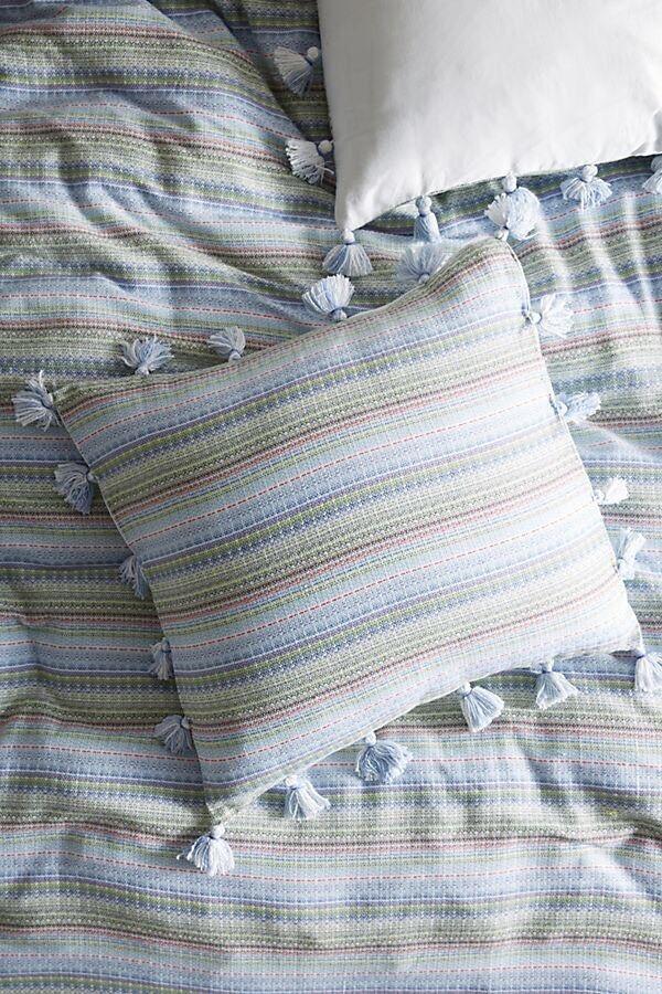 NWT Anthropologie Woven Stripe Euro Shams Cotton Tassels