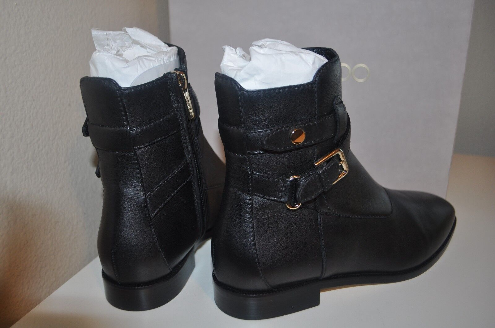 e7dbc55d6e9 ... NIB Jimmy Choo Mitchel Buckle Ankle Bootie Flat Boot Boot Boot Black  Leather 37.5 - 7.5 ...