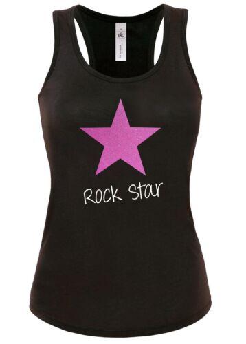 Womes ladies T shirt Tank top vest black Glitter Pink Gold Red Fashion rockstar