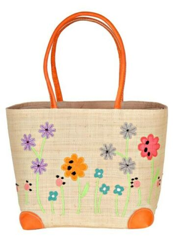 SPRING FLOWERS BASKET natural raffia straw beach bag fair trade Madaraff NEW!