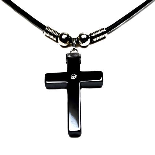 Accents Kingdom Men/'s Hematite Cross CZ Pendant Necklace