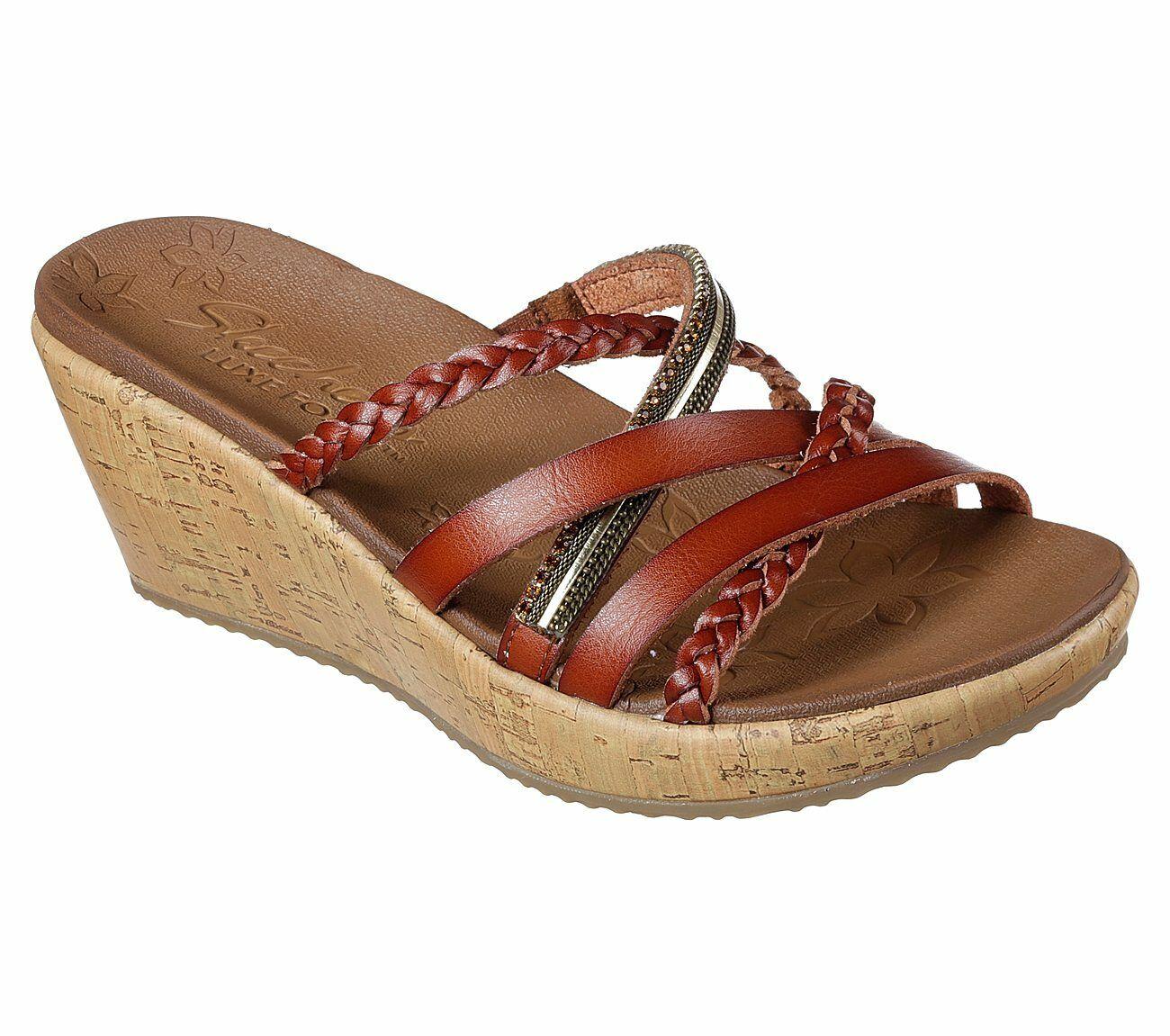 Skechers Beverlee - Sozial Labor Sandalen Damen Keil Riemen Sommer Schuhe 31716