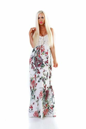 5535 Damen Maxikleid Sommerkleid Gesmokt Häkeltop Langes Kleid Geblümt Blumen