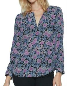 Joie Black Violet & Blue Silk Floral Lace Print V Neck Blouse Top SZ S