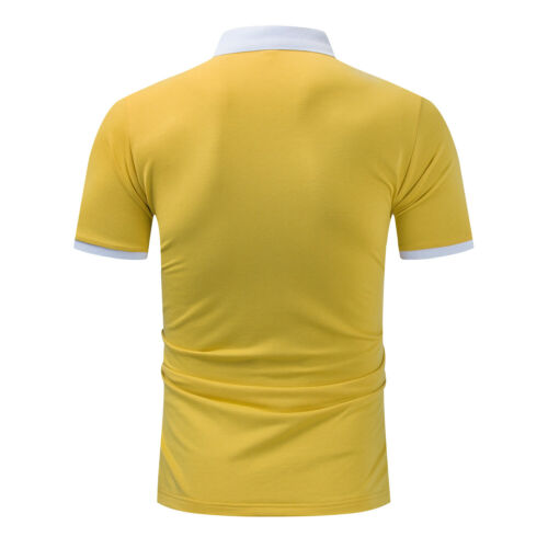 New Striped Cotton Men T-shirt Short Sleeve Letter Patchwork Yellow Polo Shirt