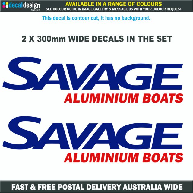 Savage Boats Decal 33cm Pair Relacement boat tinny fishing stickers #S001