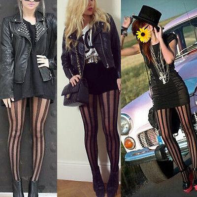 Women Punk Rock Black Vertical Stripe Pantyhose Stockings Tights Tattoo